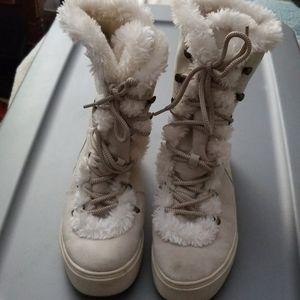Women's Merona Tira Faux Suede & Fur Boots Sz 10
